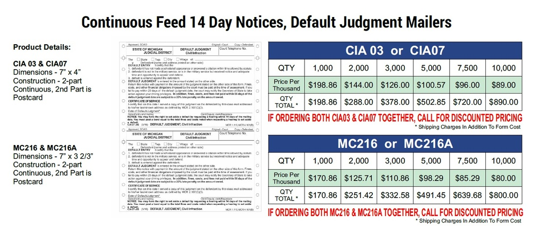 cia03-cia07-mc216-mc216a-continuous-14-day-notice-michigan-court-2016-pricing from Data Legal Forms